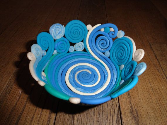 Ocean Colored Polymer Clay Bowl