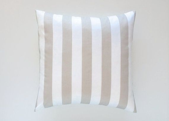 Decorative Pillow Cover. Taupe Stripes All by thebluebirdshop