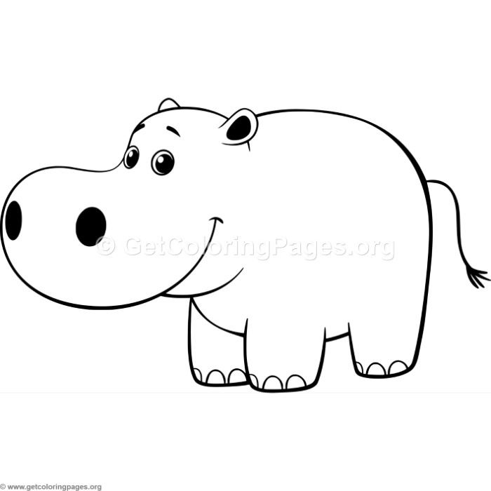 Simple Cartoon Hippo Coloring Pages Cartoon Hippo Simple Cartoon Coloring Pages