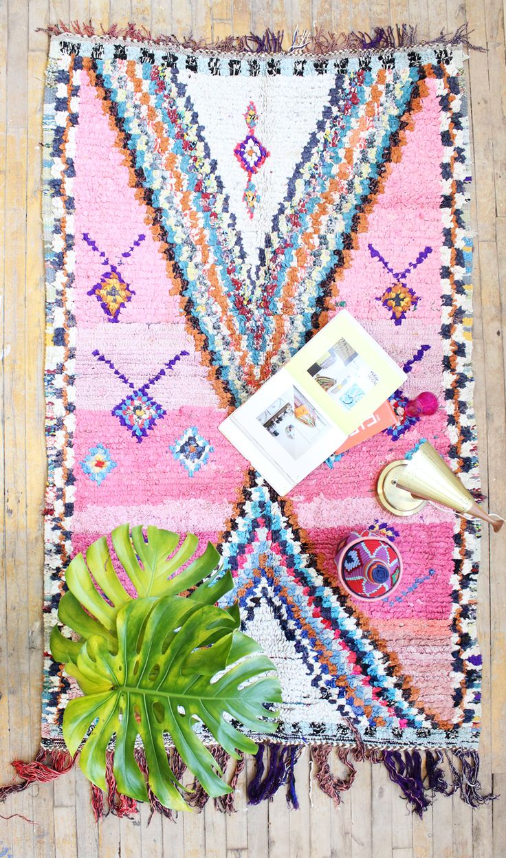 Boucherouite rugs are made with dyed recycled textiles and are truly colorful creations! Because of their amazing splashes of color, boucherouite rugs make me think of impressionist art but they also seem very graphic and modern as if they were made by contemporary graphic designers! Each and...