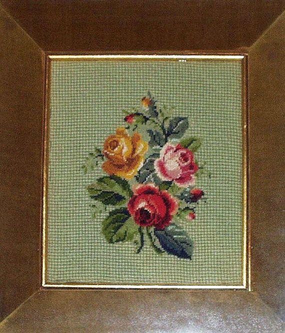 Vintage Needlepoint Framed Pink Roses Floral by InheritedTraits, $28.90