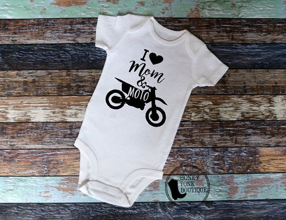 I Love Mom & Moto Baby Clothing, Motocross Baby, MotoBaby, Dirt Bikes, Dirt Bike Baby, Supercross, MX, SX, Country Baby, Country Style, Redneck Baby
