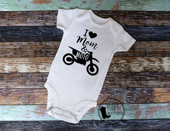 I Love Mom & Moto Baby Clothing, Motocross Baby, MotoBaby, Dirt Bikes, Dirt Bike Baby, Supercross, MX, SX, Country Baby, Country Style, Redneck Baby