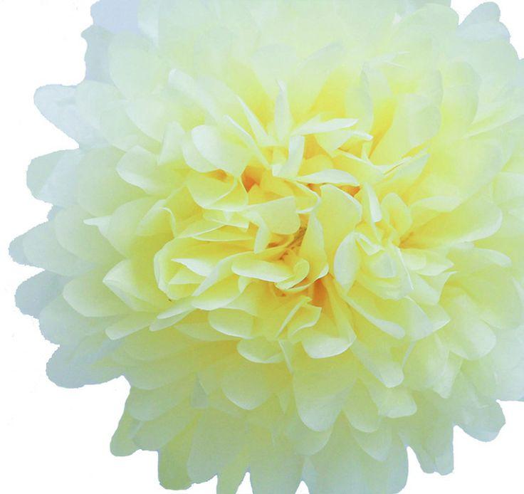Light Yellow Tissue Paper Pom Poms  #theweddingoutlet