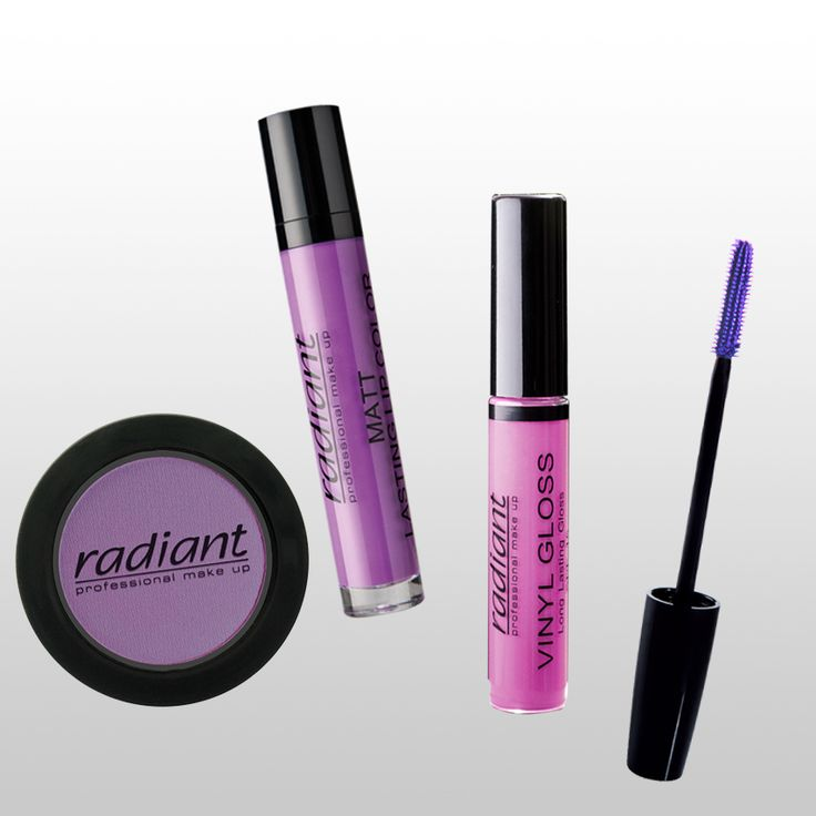 Color of the day: Purple. Get ready to fall in love! #Radiant #Professional #makeup #purple #color #eyeshadow #lips #mascara #matt #lipcolor #gloss