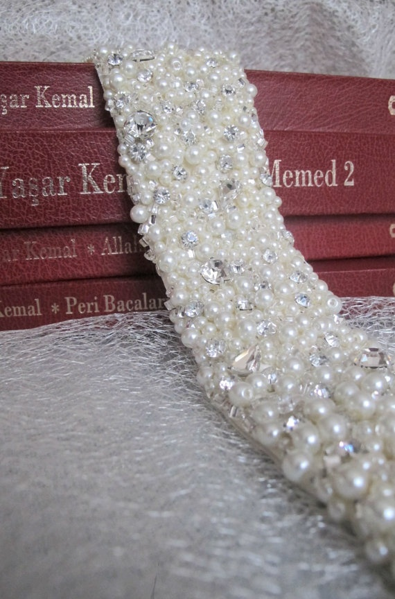 Hand Beaded Bridal Sash Belt 55 cm with pearls by gebridal on Etsy, $225.00
