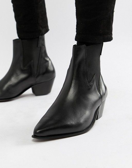 cc6337ff1f96 DESIGN stacked heel western boots in black leather with lightning detail in  2019