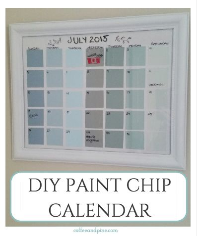 DIY Paint chip dry erase calendar. So easy! Perfect for a touch of organizing this summer. #diy #paint http://www.coffeeandpine.com