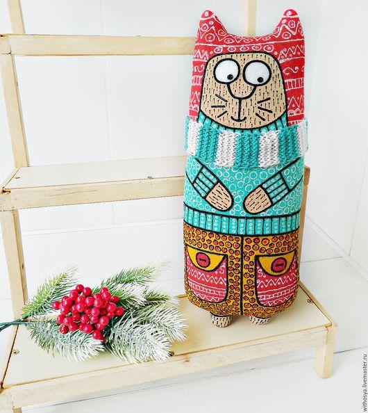 Игрушки животные, ручной работы. Новый год 2017. Текстильная игрушка с росписью-кот