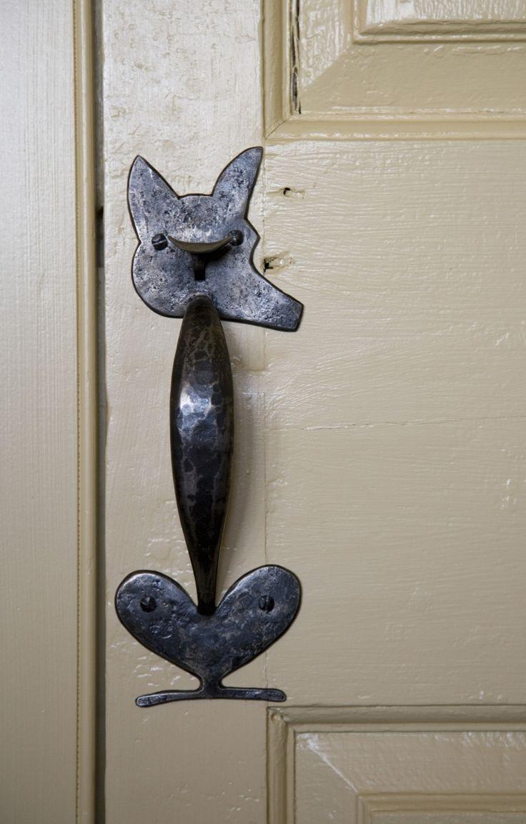 Garage door swing hinges - Cute Door Handle Custom Made Fox Head Custom Hardware Strap Hinges Thumb Latches By Heritage Metalworks