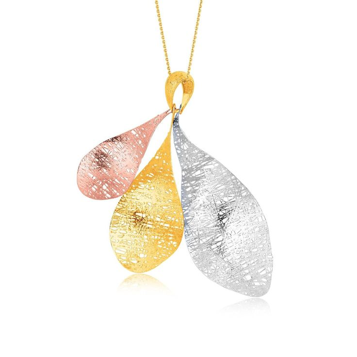 Three organic forms dance in a colorful array suspended from a single bail in this richly textured pendant. Fused wires of white, yellow, and rose gold create a