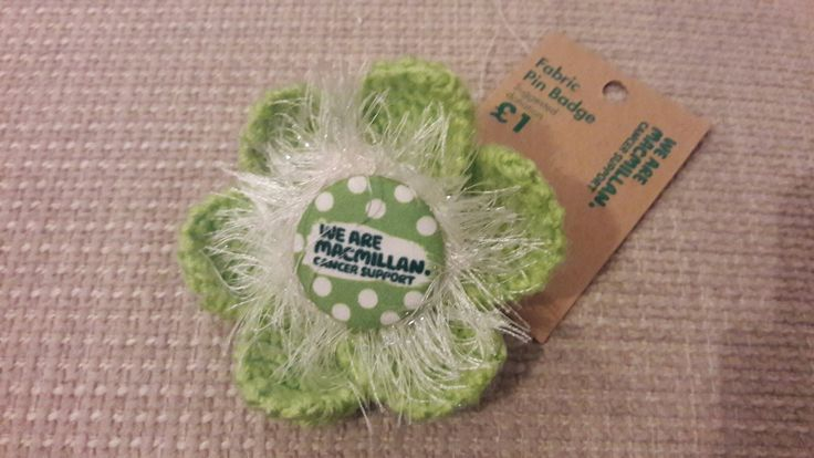 Macmillan Cancer Support Pimped Fabric Pin Badge made by  JenWren