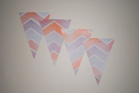 Bunting precut  Coral and Purple Chevron by LoveIncorporated, $10.00