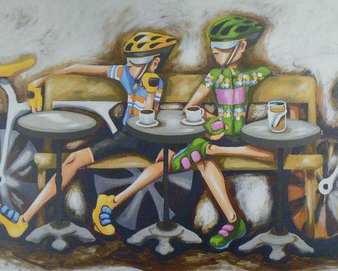 Duncan - Coffee and Cycling – Stretched Canvas -  Sport art by ArtSportive