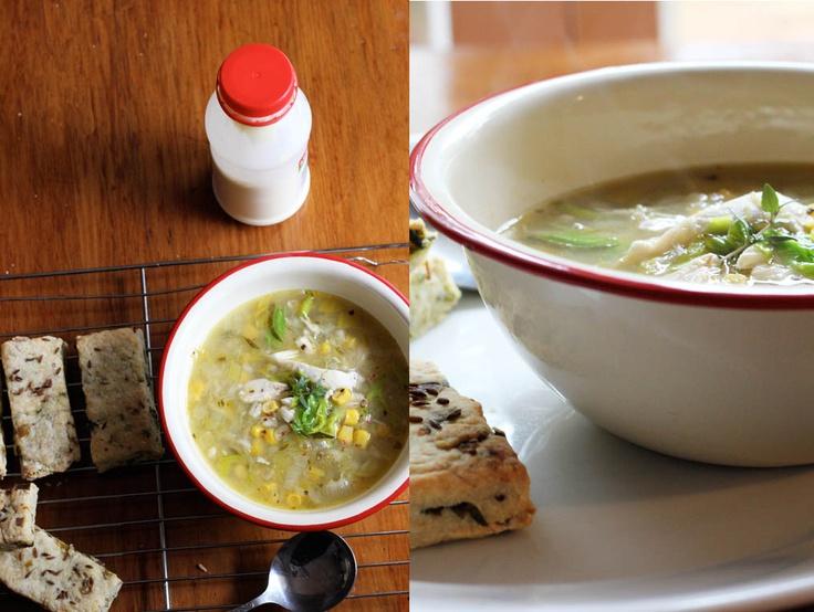 mima + moo : chicken, leek + corn soup