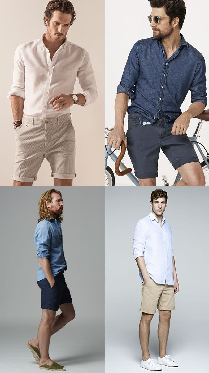 Men's Shorts with Long-Sleeved Shirts Outfit Inspiration Lookbook