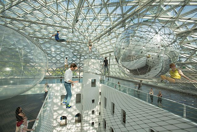Tomás Saraceno Launches You into the Sky with His Latest Suspended Installation In Orbit at K21 Staendehaus