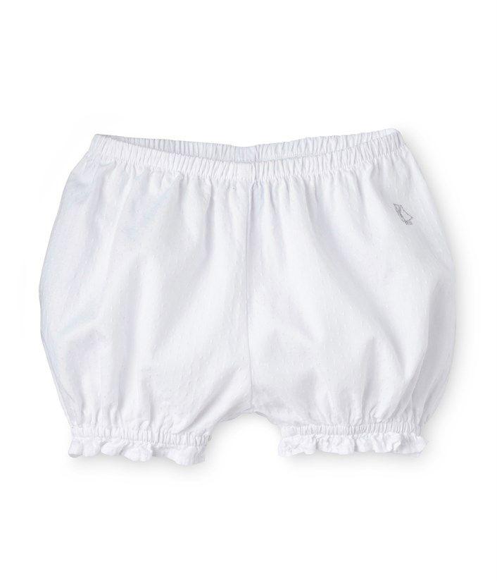 Culotte bloomer bébé fille en coton plumetis blanc Ecume - Petit Bateau