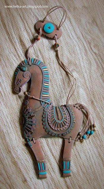"""ART-piggy from HELKI: Ceramics workshop. Suspension/hung """"horse""""made of blue clay, acrylic"""