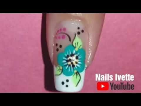 Decoración de uñas con flor - YouTube