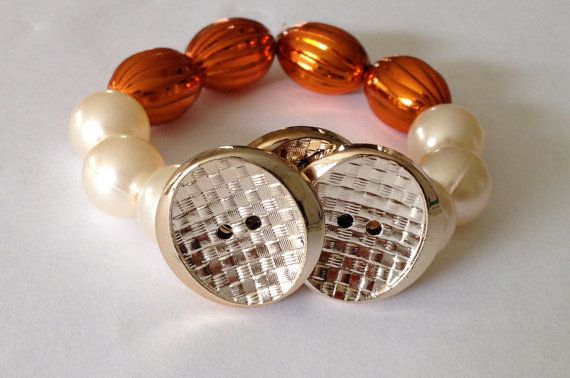 Gold button bracelet by WillyNo on Etsy, $10.00