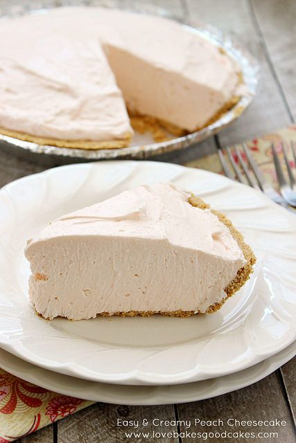 Easy & Creamy Peach Cheesecake #SummerDesserts #nobake #cheesecake by lovebakesgoodcakes, via Flickr