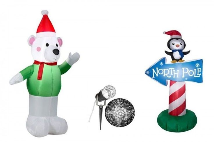 Christmas Bear North Pole Airblown Inflatables 2-Piece Yard Lighting Xmas Decors #easy_shopping08