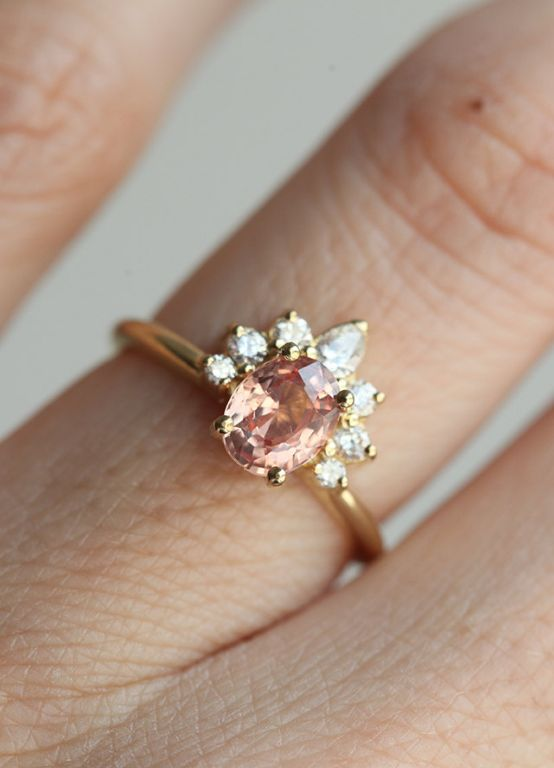 Peach Sapphire & Diamond Engagement Ring | Etsy