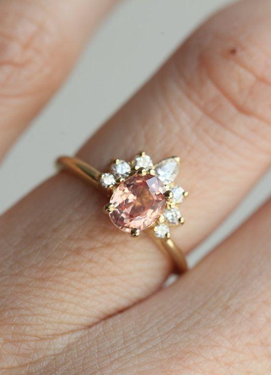 Peach Sapphire & Diamond Engagement Ring | Etsy