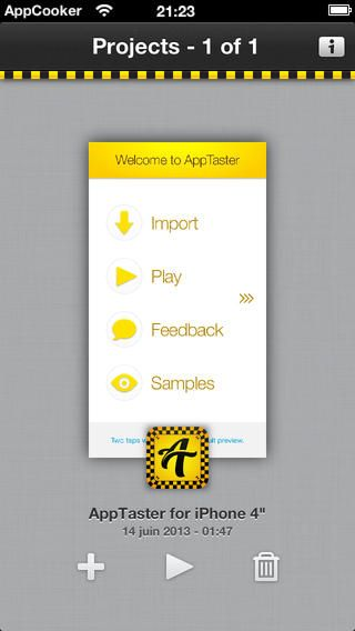 AppTaster - Play Mockups and Prototypes made in AppCooker