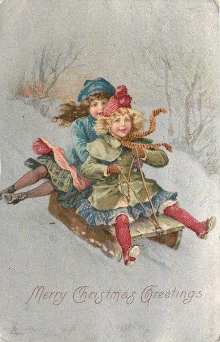 MERRY CHRISTMAS GREETINGS two children sliding down snow with wooden sled