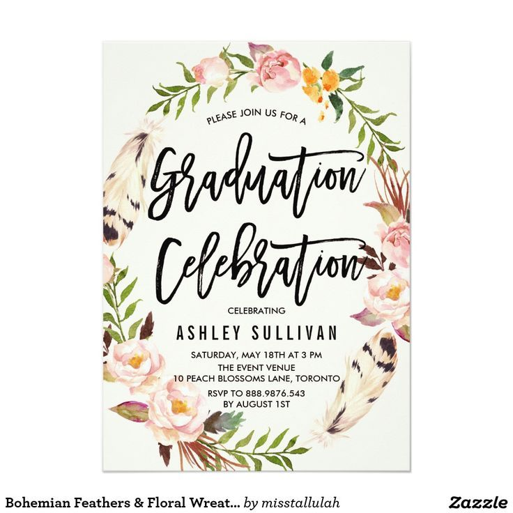 Bohemian Feathers & Floral Wreath Graduation Party 57 Paper Invitation Card
