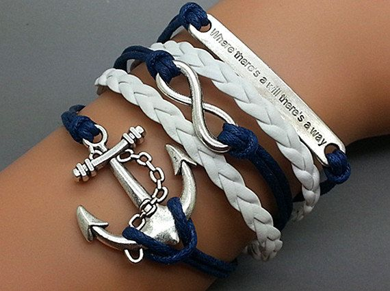 Infinity Bracelet Anchor Bracelet Motto Bracelet Antique Silver Star Cute Personalized Bracelet Best Friendship Gift Fashion Jewelry on Etsy, $4.99