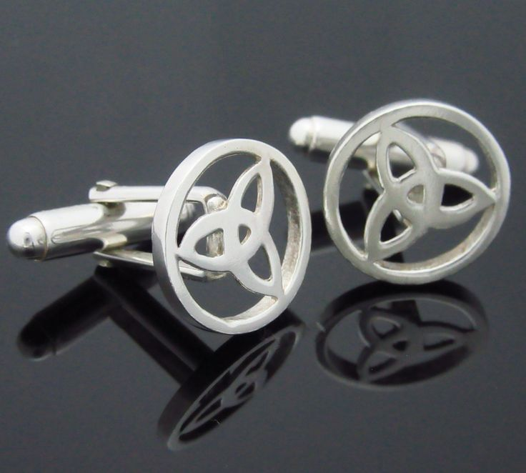 Trinity Knot Cuff Links -  Sterling Silver Celtic Cuff Links - Irish Jewelry - Mens Wedding - Bestman  - Father's Day by celticicejewellery on Etsy