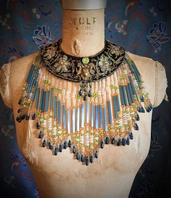 Queen Cleopatra's Egyptian Glass Fringe Collar Necklace by Louise Black