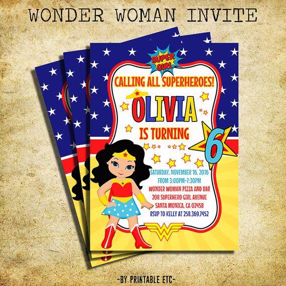 Wonder Woman Birthday Invitation - Wonder Woman Clipart Birthday Party Invite- Printable And Digital File