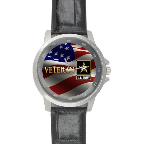 Friends Gifts Military US Army Veteran and American Flag Black Leather Alloy High-grade Watch ** Find out more details by clicking the image : Travel Gadgets