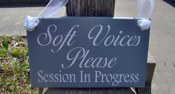 soft voices please session in progress wood vinyl sign door decor