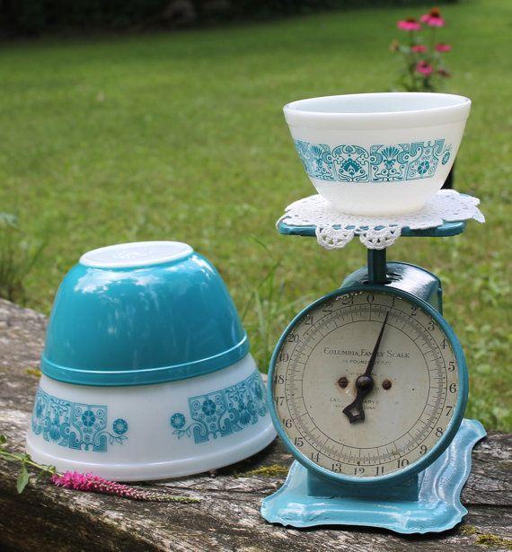 Vintage Set Pyrex Mixing Bowls Horizon Blue by DukeCreekStudios, $48.00