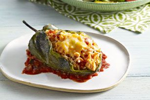 "STUFFED POBLANO PEPPERS (CHILES RELLENOS) RECIPE: ~ From: ""Kraft Kitchens.Com"". ~ Prep.Time: 30 min; Cook Time: 50 min; Total Time: 1 hr, 20 min; Yield: (4 servings). ~ Large poblano chiles get a stuffing of chicken, cheese and chunky salsa and emerge from the oven hot, melty and delicious!"