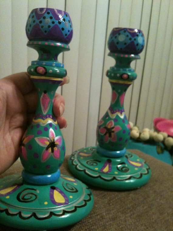 Hand Painted wooden Candle sticks by SwankeeMonkee on Etsy, $50.00
