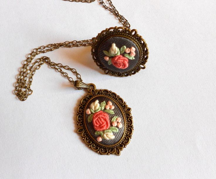 Embroidered flower rose Fabric Necklace and Rose Cocktail Statement Ring Rustic Jewelry Unique gifts for mom
