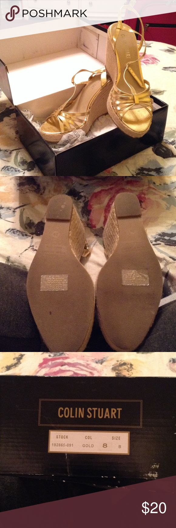 Gold espadrille wedges Gold and fan espadrille wedges by Colin Stuart. Never worn Colin Stuart Shoes Espadrilles