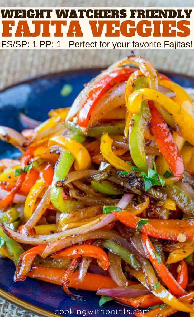 Easy Fajita Vegetables made in the cast iron skillet with a homemade Mexican Seasoning in just 15 minutes. The perfect fiber rich side dish for your favorite fajita recipes with just 1 Weight Watchers smart point per serving.