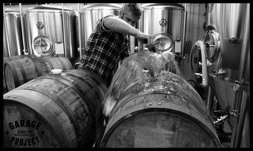 Filling Bourbon Barrels with Bastard Rye Ale. www.garageproject.co.nz