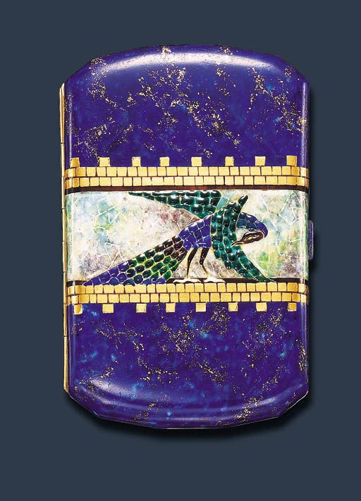 AN ELEGANT ART DECO ENAMEL CIGARETTE CASE, BY VAN CLEEF & ARPELS   Of cushion-shaped outline, centering upon a textured blue, green and brown enamelled peacock against a mottled green and mauve enamelled band, within gold brick motif borders, to the blue and gold background, and push-piece, the reverse of similar design, mounted in 18k gold, circa 1925, 3¾ x 2½ x ½ ins., with French assay marks and maker's mark  Signed Van Cleef & Arpels, Paris, no. 22997