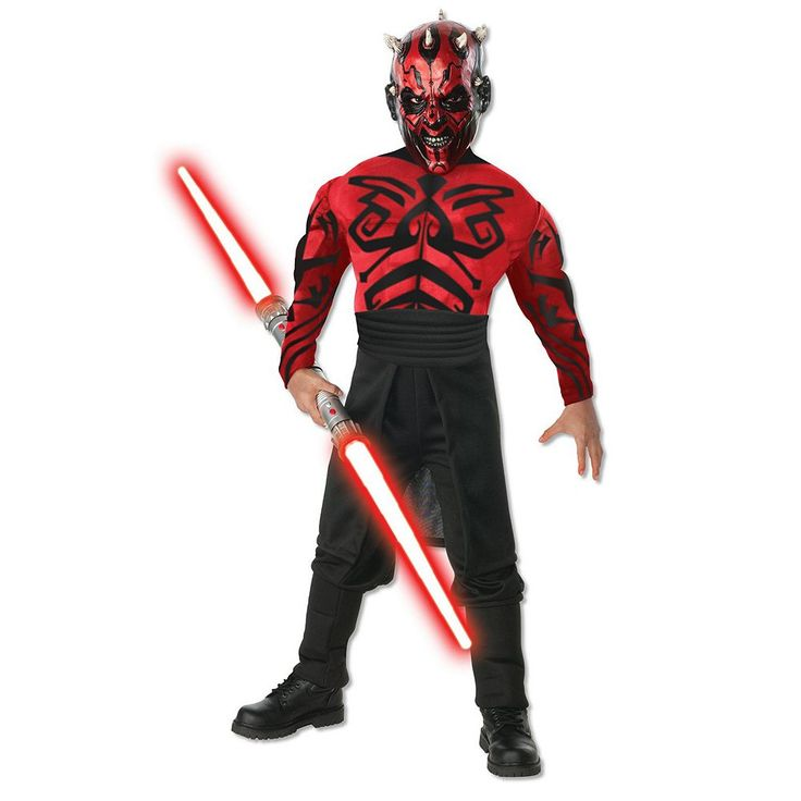 Kids Star Wars Deluxe Muscle Chest Darth Maul Costume, Boy's, Size: 12-14, Multicolor