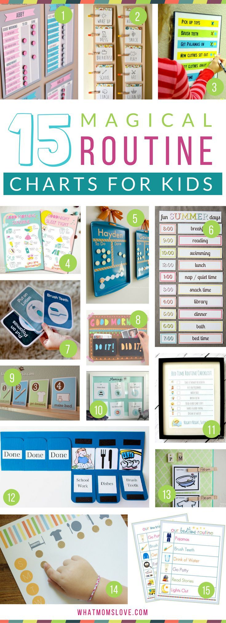 Morning and Bedtime Daily Routine Charts for Kids - perfect for keeping them on a schedule over the summer or for back to school. DIY and printable routine charts to help teach kids independence! Plus more tips, tricks and hacks to survive Summer with your kids from http://whatmomslove.com