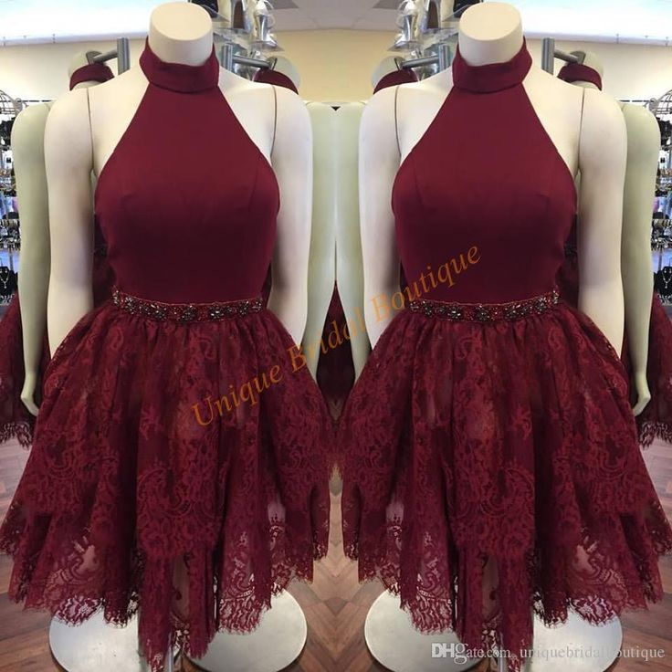 2016 Burgundy Homecoming Dresses With Halter Neck And Lace Skirt Real Pictures Beaded Elegant Cocktail Party Gowns Sleeveless Homecoming Dress Store Homecoming Dress Under 100 From Uniquebridalboutique, $110.21| Dhgate.Com