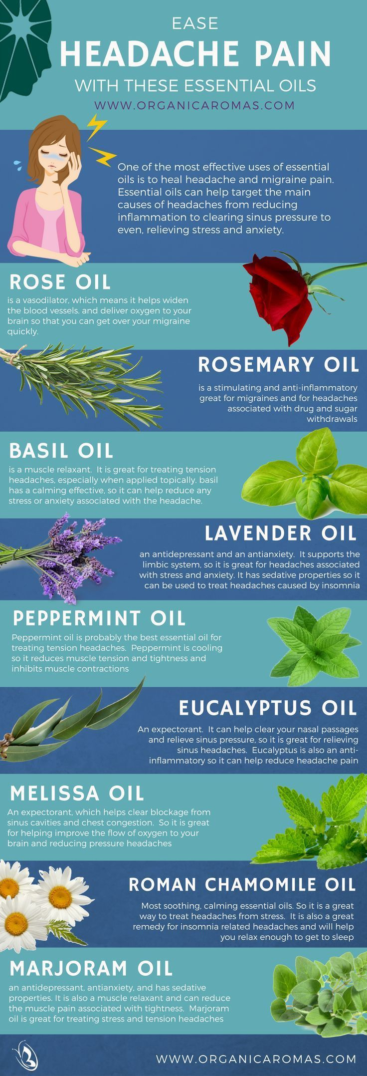 Ease Headache Pain With These Essential Oils  #InfoGraphic #EssentialOils #OrganicAromas